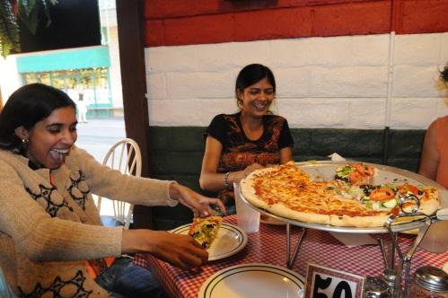 Sartia and Kumkum love pizza!