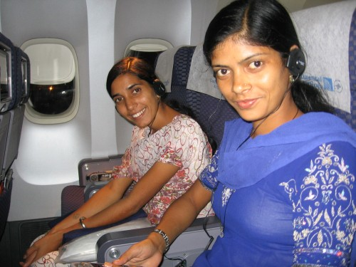 Sarita and Kumkum all strapped in.